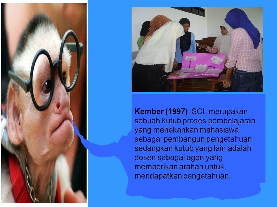 Kember (1997), SCL merupakan sebuah kutub proses pembelajaran yang menekankan mahasiswa sebagai pembangun pengetahuan sedangkan kutub yang lain adalah