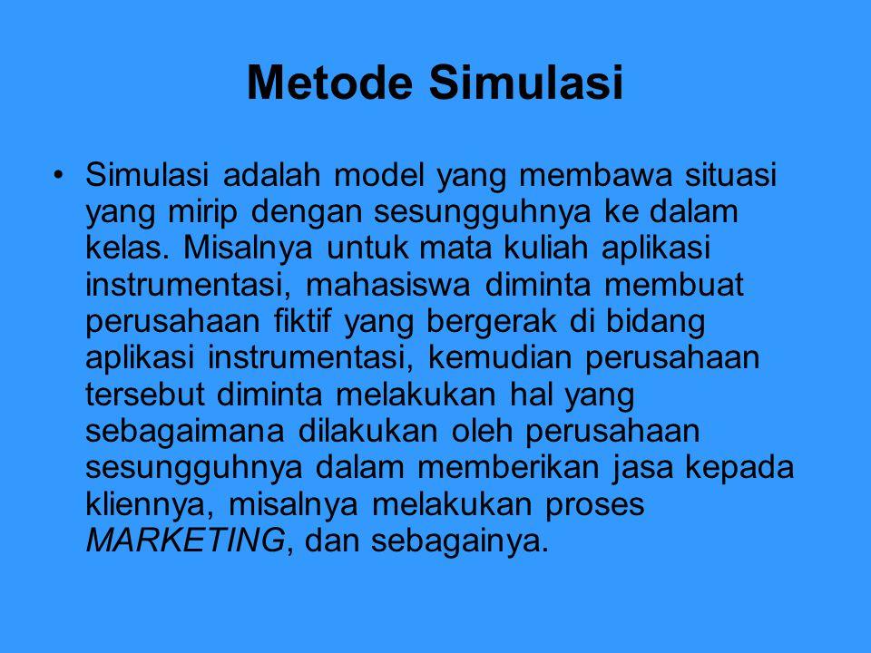 Metode Simulasi Simulasi adalah model yang membawa situasi yang mirip dengan sesungguhnya ke dalam kelas. Misalnya untuk mata kuliah aplikasi instrume