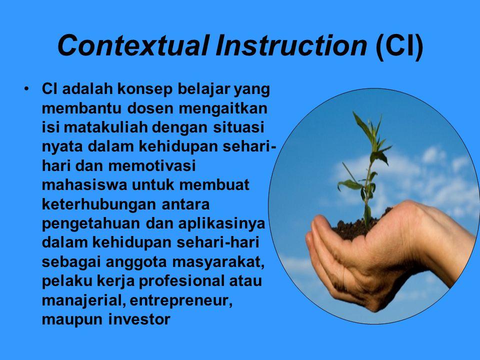 Contextual Instruction (CI) CI adalah konsep belajar yang membantu dosen mengaitkan isi matakuliah dengan situasi nyata dalam kehidupan sehari- hari d