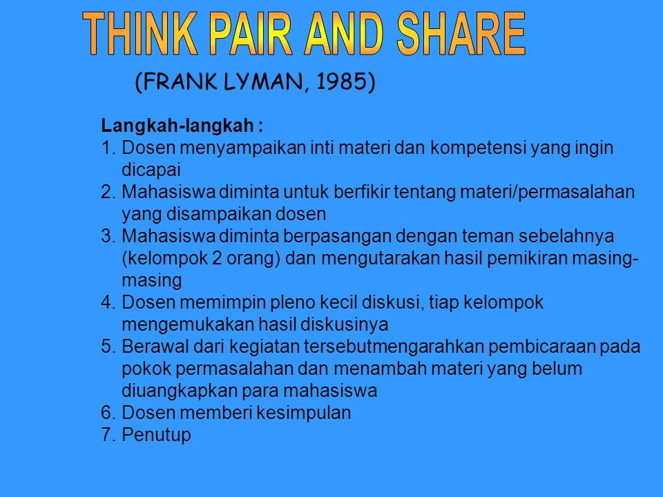 (FRANK LYMAN, 1985) Langkah-langkah : 1.Dosen menyampaikan inti materi dan kompetensi yang ingin dicapai 2.Mahasiswa diminta untuk berfikir tentang ma