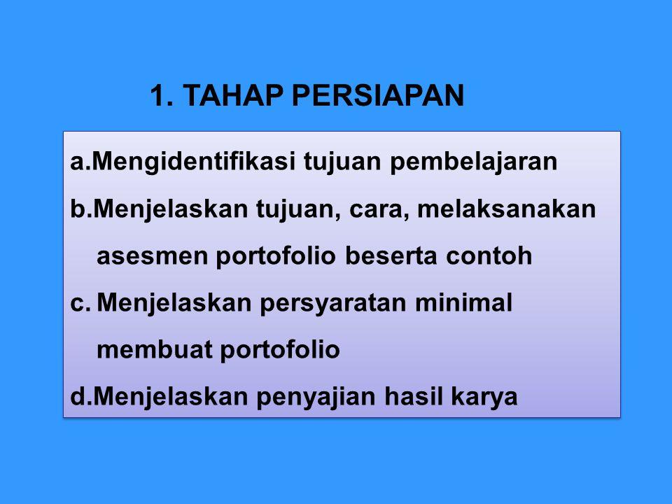 1.TAHAP PERSIAPAN a.Mengidentifikasi tujuan pembelajaran b.Menjelaskan tujuan, cara, melaksanakan asesmen portofolio beserta contoh c.Menjelaskan pers