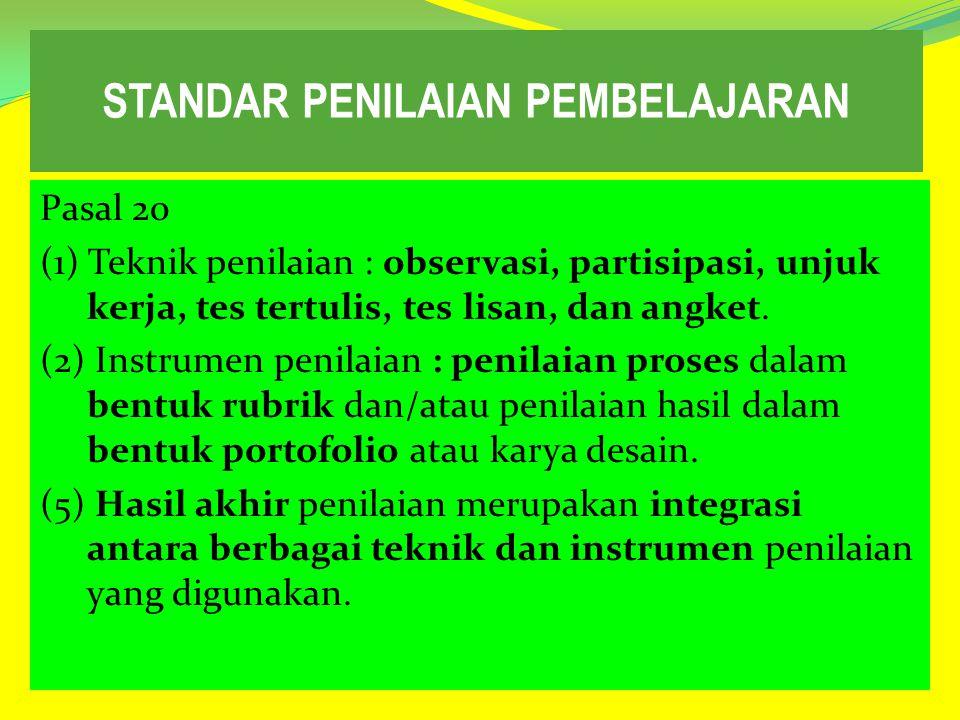 STANDAR PENILAIAN PEMBELAJARAN Pasal 20 (1) Teknik penilaian : observasi, partisipasi, unjuk kerja, tes tertulis, tes lisan, dan angket. (2) Instrumen