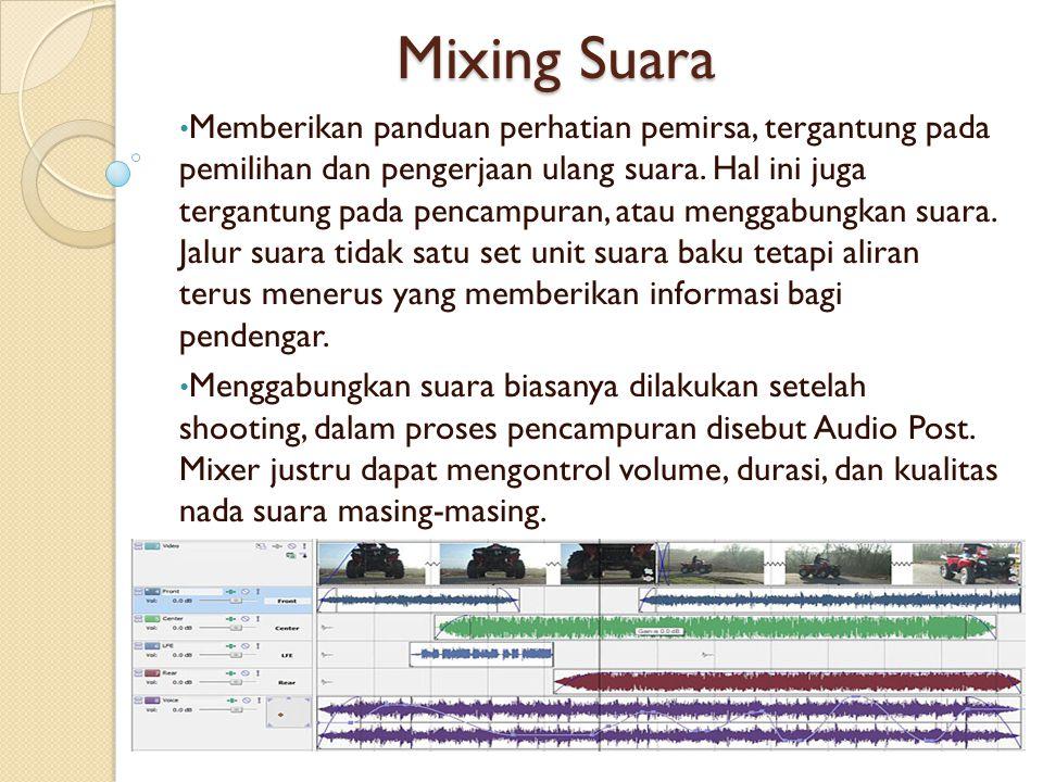 Mixing Suara Memberikan panduan perhatian pemirsa, tergantung pada pemilihan dan pengerjaan ulang suara. Hal ini juga tergantung pada pencampuran, ata