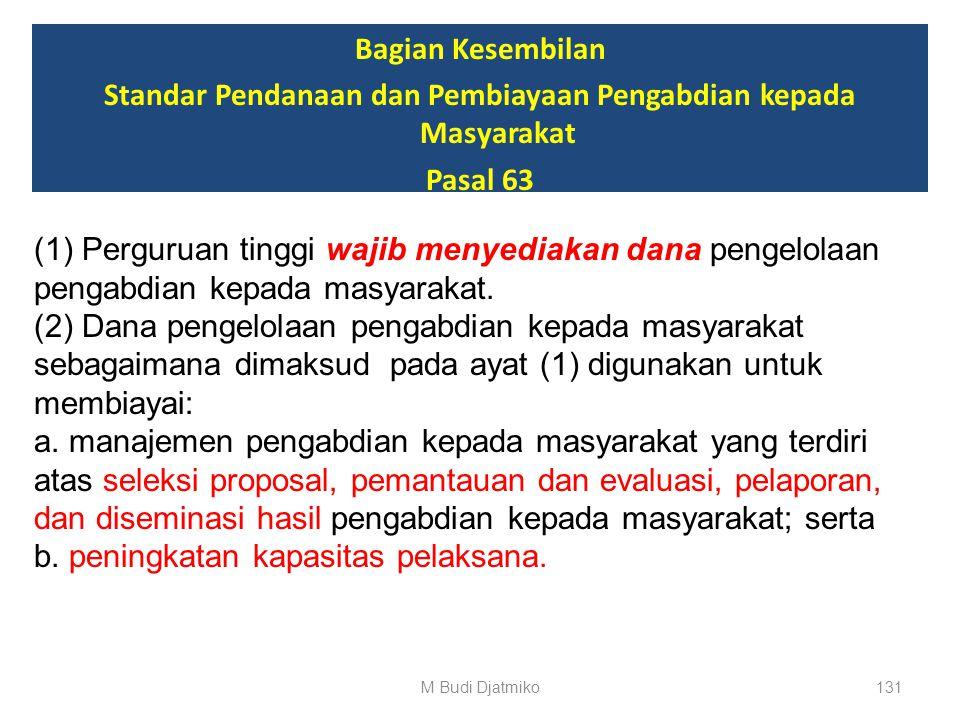 Bagian Kesembilan Standar Pendanaan dan Pembiayaan Pengabdian kepada Masyarakat Pasal 62 (4) Pendanaan pengabdian kepada masyarakat bagi dosen atau in