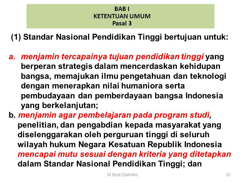 BAB I KETENTUAN UMUM Pasal 2 (1) Standar Nasional Pendidikan Tinggi terdiri atas: a. Standar Nasional Pendidikan; b. Standar Nasional Penelitian; dan