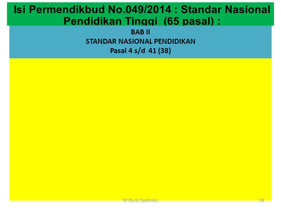BAB I KETENTUAN UMUM Pasal 1 s/d 3 (3 pasal) Isi Permendikbud No.049/2014 : Standar Nasional Pendidikan Tinggi (65 pasal) : BAB II STANDAR NASIONAL PE