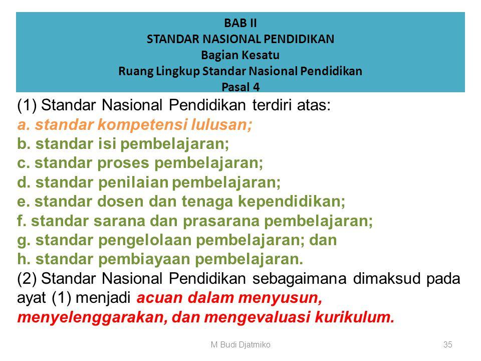 Isi Permendikbud No.049/2014 : Standar Nasional Pendidikan Tinggi (65 pasal) : BAB II STANDAR NASIONAL PENDIDIKAN Pasal 4 s/d 41 (38) 34M Budi Djatmik
