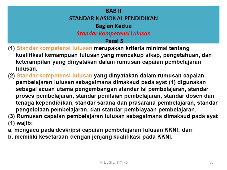 BAB II STANDAR NASIONAL PENDIDIKAN Bagian Kesatu Ruang Lingkup Standar Nasional Pendidikan Pasal 4 (1) Standar Nasional Pendidikan terdiri atas: a. st