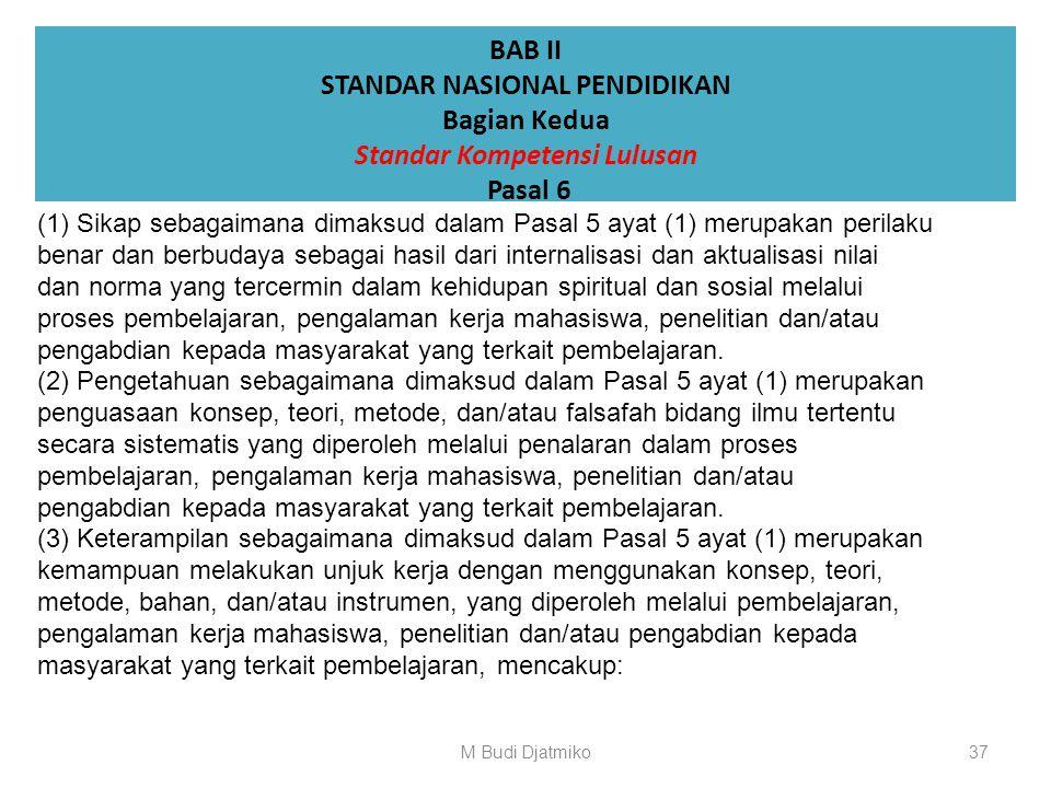 BAB II STANDAR NASIONAL PENDIDIKAN Bagian Kedua Standar Kompetensi Lulusan Pasal 5 (1) Standar kompetensi lulusan merupakan kriteria minimal tentang k
