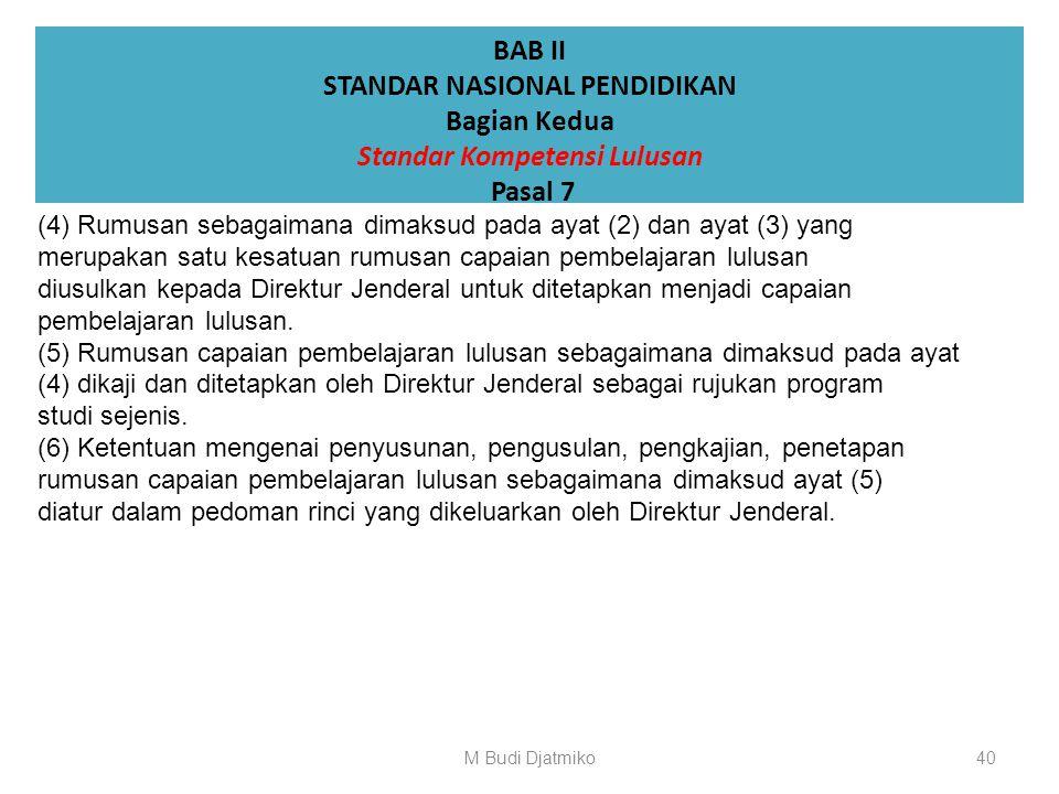 BAB II STANDAR NASIONAL PENDIDIKAN Bagian Kedua Standar Kompetensi Lulusan Pasal 7 (1)Rumusan sikap dan keterampilan umum sebagai bagian dari capaian