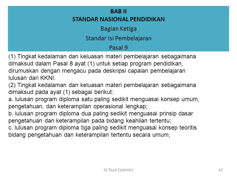 BAB II STANDAR NASIONAL PENDIDIKAN Bagian Ketiga Standar Isi Pembelajaran Pasal 8 (1) Standar isi pembelajaran merupakan kriteria minimal tingkat keda