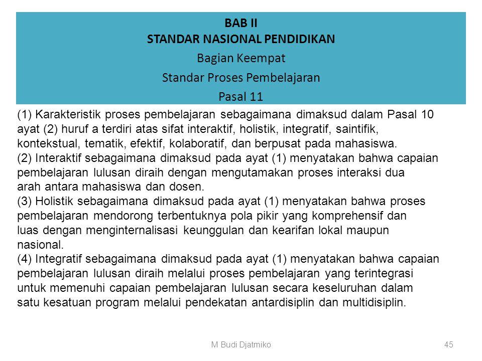 BAB II STANDAR NASIONAL PENDIDIKAN Bagian Keempat Standar Proses Pembelajaran Pasal 10 (1)Standar proses pembelajaran merupakan kriteria minimal tenta