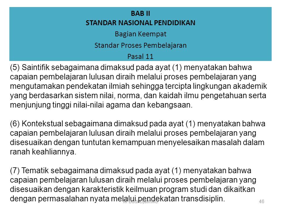 BAB II STANDAR NASIONAL PENDIDIKAN Bagian Keempat Standar Proses Pembelajaran Pasal 11 (1) Karakteristik proses pembelajaran sebagaimana dimaksud dala