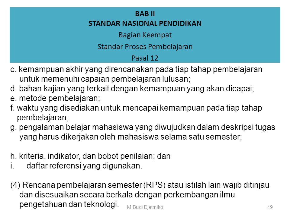 BAB II STANDAR NASIONAL PENDIDIKAN Bagian Keempat Standar Proses Pembelajaran Pasal 12 (1)Perencanaan proses pembelajaran sebagaimana dimaksud dalam P