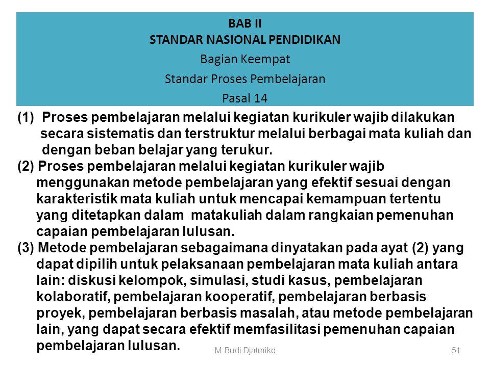BAB II STANDAR NASIONAL PENDIDIKAN Bagian Keempat Standar Proses Pembelajaran Pasal 13 (1)Pelaksanaan proses pembelajaran sebagaimana dimaksud dalam P
