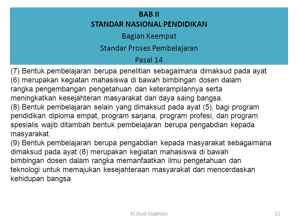 BAB II STANDAR NASIONAL PENDIDIKAN Bagian Keempat Standar Proses Pembelajaran Pasal 14 (4) Setiap mata kuliah dapat menggunakan satu atau gabungan dar