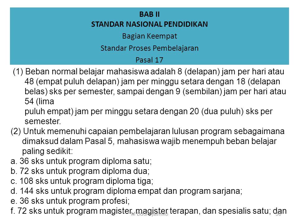BAB II STANDAR NASIONAL PENDIDIKAN Bagian Keempat Standar Proses Pembelajaran Pasal 16 (1) 1 (satu) sks pada bentuk pembelajaran kuliah, responsi dan