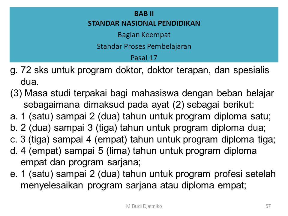BAB II STANDAR NASIONAL PENDIDIKAN Bagian Keempat Standar Proses Pembelajaran Pasal 17 (1) Beban normal belajar mahasiswa adalah 8 (delapan) jam per h