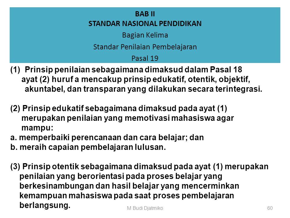 BAB II STANDAR NASIONAL PENDIDIKAN Bagian Kelima Standar Penilaian Pembelajaran Pasal 18 (1)Standar penilaian pembelajaran merupakan kriteria minimal