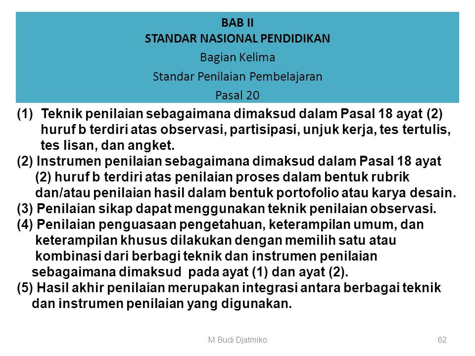 BAB II STANDAR NASIONAL PENDIDIKAN Bagian Kelima Standar Penilaian Pembelajaran Pasal 19 (4) Prinsip objektif sebagaimana dimaksud pada ayat (1) merup
