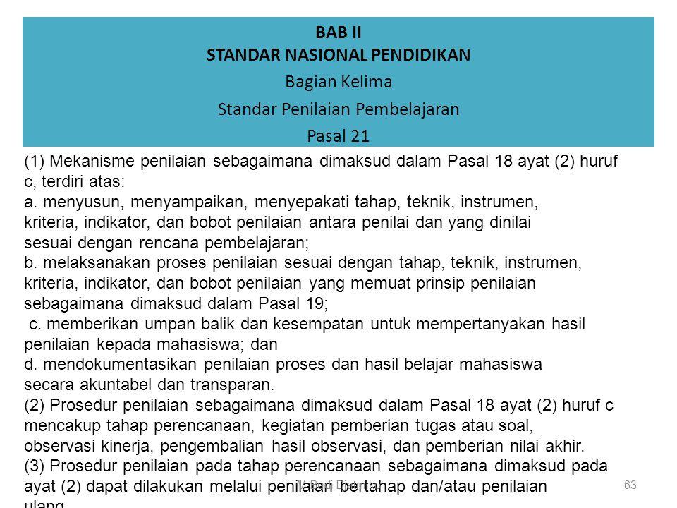 BAB II STANDAR NASIONAL PENDIDIKAN Bagian Kelima Standar Penilaian Pembelajaran Pasal 20 (1)Teknik penilaian sebagaimana dimaksud dalam Pasal 18 ayat