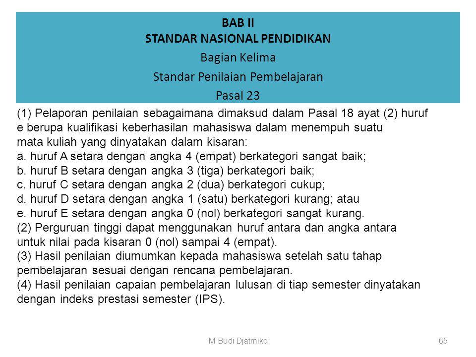 BAB II STANDAR NASIONAL PENDIDIKAN Bagian Kelima Standar Penilaian Pembelajaran Pasal 22 (1) Pelaksanaan penilaian sebagaimana dimaksud dalam Pasal 18