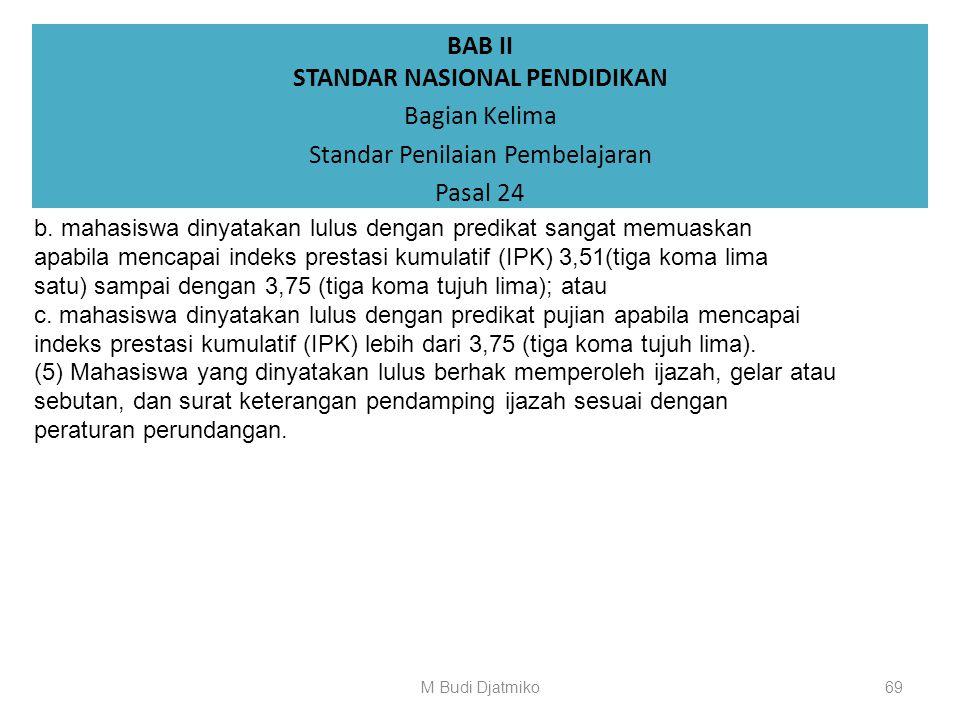 BAB II STANDAR NASIONAL PENDIDIKAN Bagian Kelima Standar Penilaian Pembelajaran Pasal 24 (3) Mahasiswa program profesi, program spesialis, program mag