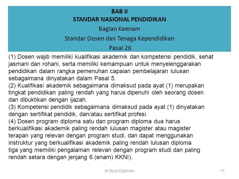 BAB II STANDAR NASIONAL PENDIDIKAN Bagian Keenam Standar Dosen dan Tenaga Kependidikan Pasal 25 Standar dosen dan tenaga kependidikan merupakan kriter