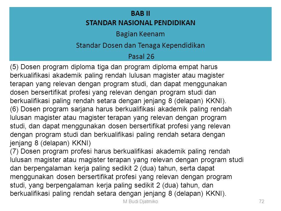 BAB II STANDAR NASIONAL PENDIDIKAN Bagian Keenam Standar Dosen dan Tenaga Kependidikan Pasal 26 (1) Dosen wajib memiliki kualifikasi akademik dan komp