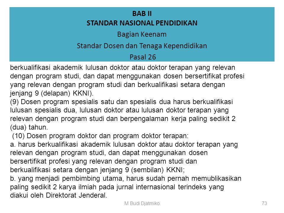 BAB II STANDAR NASIONAL PENDIDIKAN Bagian Keenam Standar Dosen dan Tenaga Kependidikan Pasal 26 (5) Dosen program diploma tiga dan program diploma emp