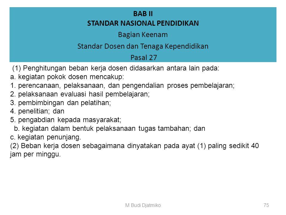 BAB II STANDAR NASIONAL PENDIDIKAN Bagian Keenam Standar Dosen dan Tenaga Kependidikan Pasal 26 (11) Penyetaraan atas jenjang 6 (enam) KKNI sebagaiman