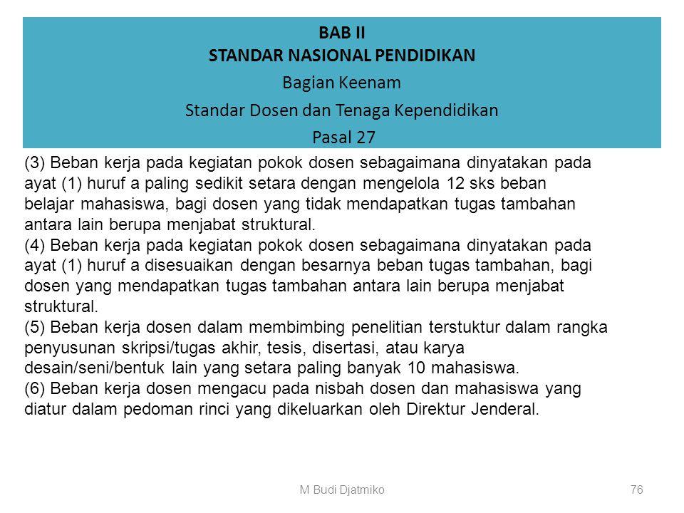BAB II STANDAR NASIONAL PENDIDIKAN Bagian Keenam Standar Dosen dan Tenaga Kependidikan Pasal 27 (1) Penghitungan beban kerja dosen didasarkan antara l