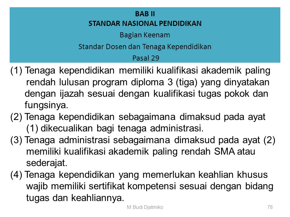 BAB II STANDAR NASIONAL PENDIDIKAN Bagian Keenam Standar Dosen dan Tenaga Kependidikan Pasal 28 (1) Dosen terdiri atas dosen tetap dan dosen tidak tet
