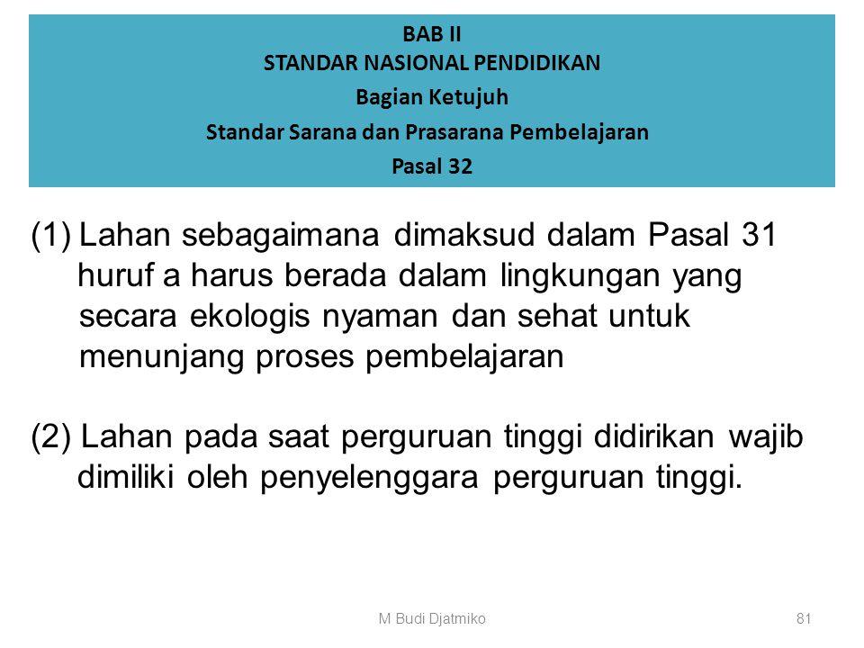 BAB II STANDAR NASIONAL PENDIDIKAN Bagian Ketujuh Standar Sarana dan Prasarana Pembelajaran Pasal 31 (1) Standar prasarana pembelajaran sebagaimana di