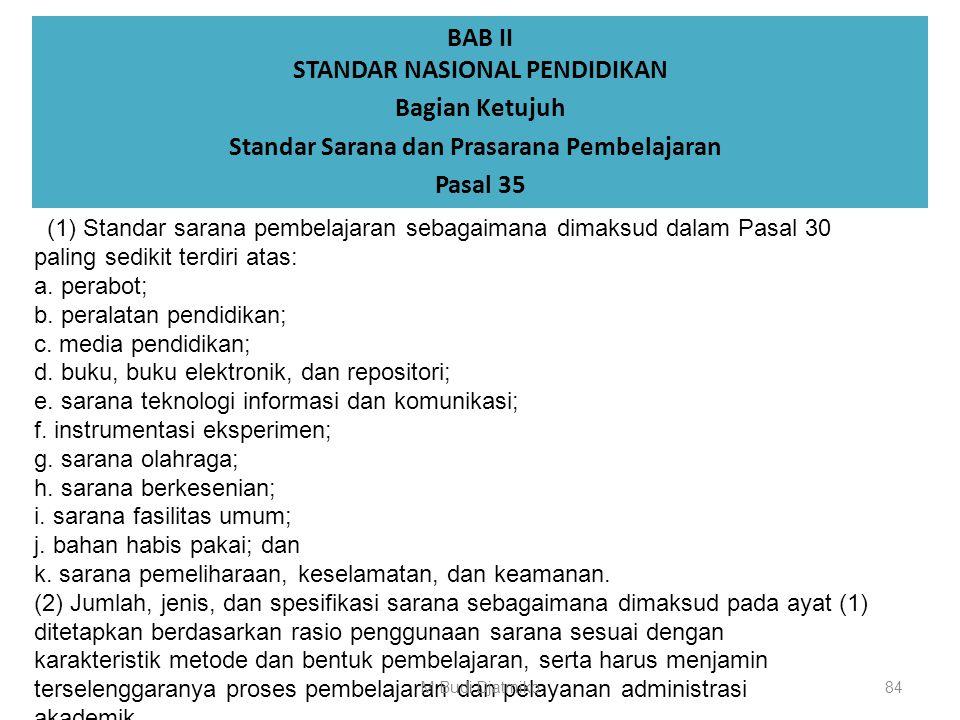 BAB II STANDAR NASIONAL PENDIDIKAN Bagian Ketujuh Standar Sarana dan Prasarana Pembelajaran Pasal 34 (1) Bangunan perguruan tinggi harus memiliki stan