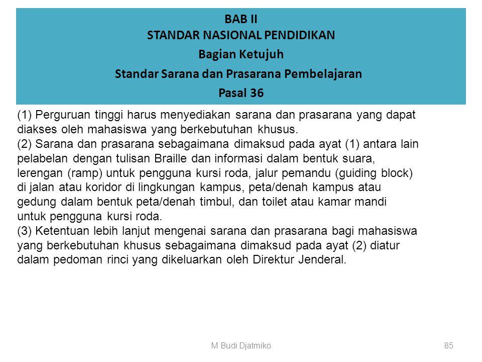 BAB II STANDAR NASIONAL PENDIDIKAN Bagian Ketujuh Standar Sarana dan Prasarana Pembelajaran Pasal 35 (1) Standar sarana pembelajaran sebagaimana dimak