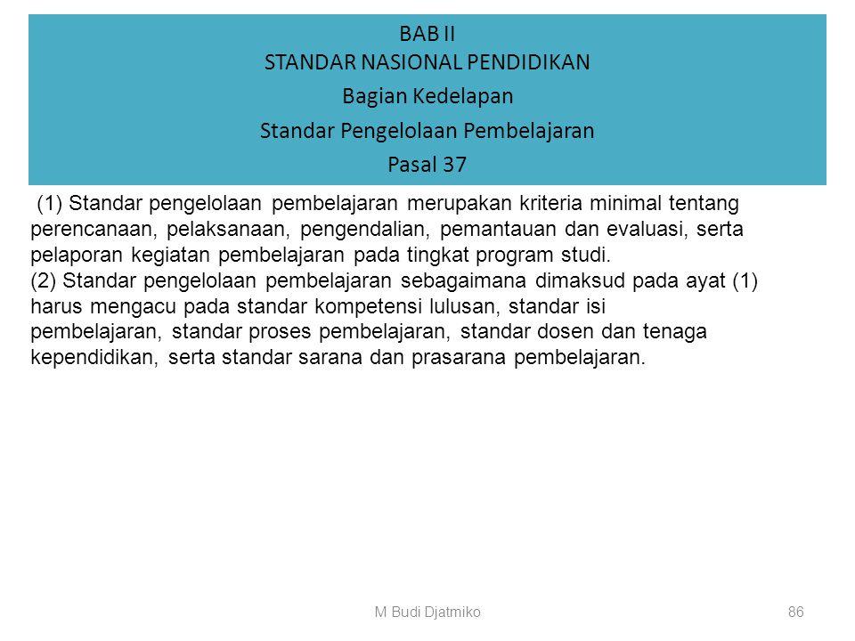 BAB II STANDAR NASIONAL PENDIDIKAN Bagian Ketujuh Standar Sarana dan Prasarana Pembelajaran Pasal 36 (1) Perguruan tinggi harus menyediakan sarana dan