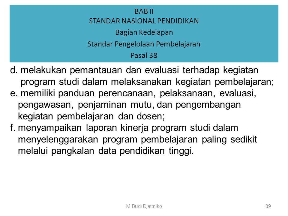 BAB II STANDAR NASIONAL PENDIDIKAN Bagian Kedelapan Standar Pengelolaan Pembelajaran Pasal 38 (2) Perguruan tinggi wajib: a.menyusun kebijakan, rencan