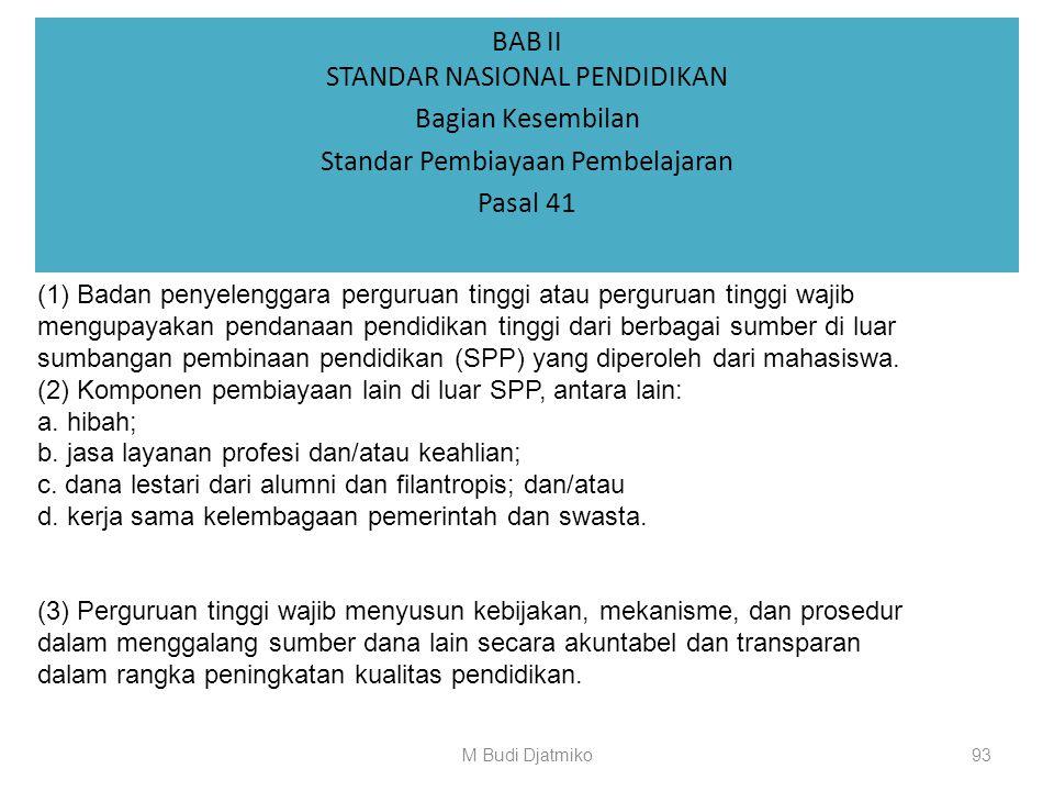 BAB II STANDAR NASIONAL PENDIDIKAN Bagian Kesembilan Standar Pembiayaan Pembelajaran Pasal 40 Perguruan tinggi wajib: (1) mempunyai sistem pencatatan