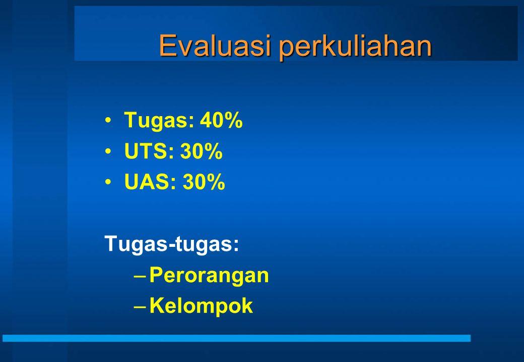 Evaluasi perkuliahan Tugas: 40% UTS: 30% UAS: 30% Tugas-tugas: –Perorangan –Kelompok