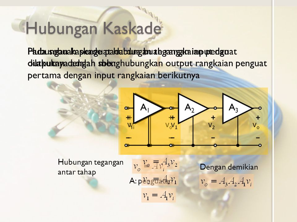 Hubungan Kaskade A A: penguatan Hubungan kaskade pada dua buah rangkaian penguat dilakukan dengan menghubungkan output rangkaian penguat pertama dengan input rangkaian berikutnya Pada sebuah penguat hubungan tegangan input dan outputnya adalah sbb.: A1A1 A2A2 A3A3 Dengan demikian Hubungan tegangan antar tahap