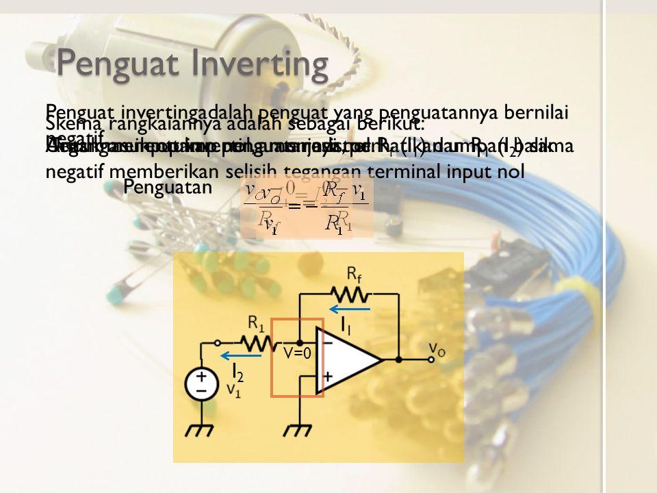 Penguat Inverting Untuk menentukan penguatannya, perhatikan umpan balik negatif memberikan selisih tegangan terminal input nol V=0 Tegangan input inverting menjadi nol.Arus masuk opamp nol, arus resistor R f (I 1 ) dan R 1 (I 2 ) sama I1I1 I2I2 Penguatan Penguat invertingadalah penguat yang penguatannya bernilai negatif Skema rangkaiannya adalah sebagai berikut: