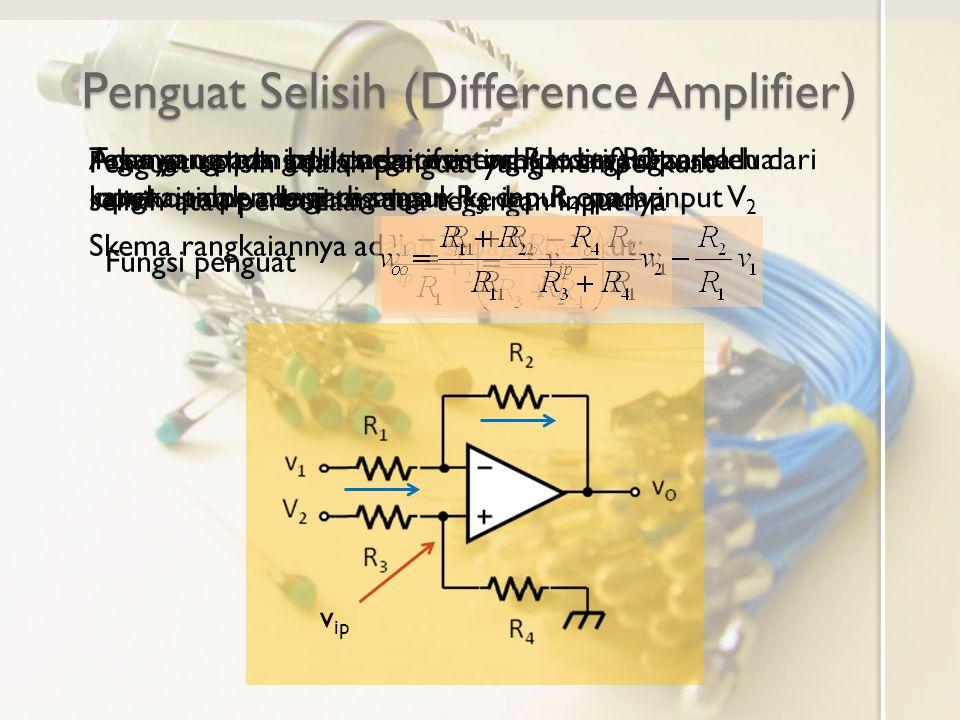 Penguat Selisih (Difference Amplifier) Penguat selisih adalah penguat yang memperkuat selisih atau perbedaan dua tegangan inputnya Skema rangkaiannya adalah sebagai berikut: Adanya umpan balik negatif membuat tegangan kedua input opamp menjadi sama Tegangan pada input noninverting (positif) diperoleh dari rangkaian pembagi tegangan R 3 dan R 4 pada input V 2 v ip Arus yang mengalir pada resistor R1 dan R2 sama karena tidak ada arus masuk ke input opamp Fungsi penguat