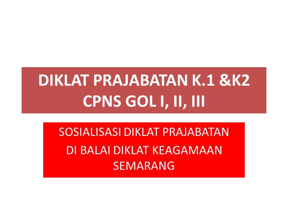 DIKLAT PRAJABATAN K.1 &K2 CPNS GOL I, II, III SOSIALISASI DIKLAT PRAJABATAN DI BALAI DIKLAT KEAGAMAAN SEMARANG