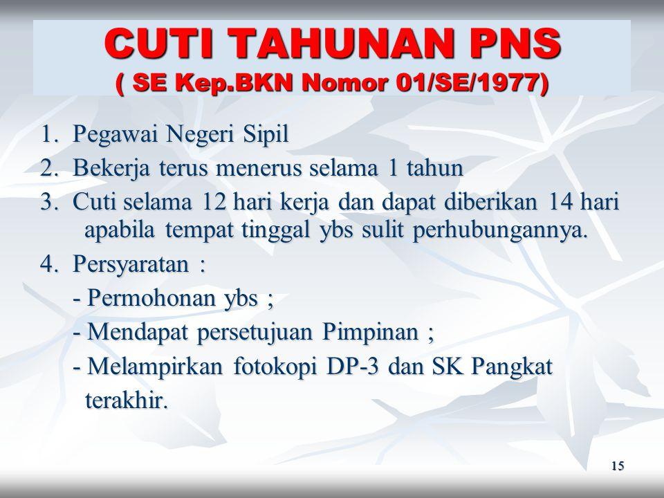 14 CUTI PNS ( Psl.8 UU No.8/1974 dan PP No.24/1976 ) Cuti PNS : Keadaan tidak masuk kerja yang diizinkan dalam jangka waktu tertentu dan dikeluarkan a