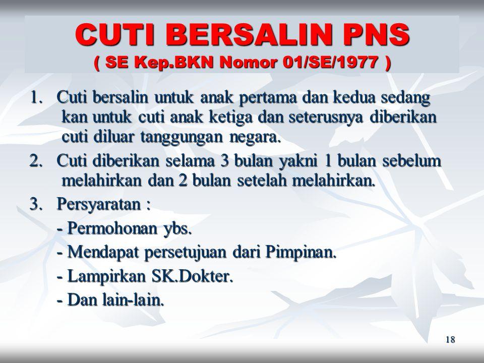 17 CUTI SAKIT PNS ( SE Kep.BKN Nomor 01/SE/1977 ) 1. PNS yang sakit selama 1-2 hari, dengan memberitahu kan kepada atasan yang bersangkutan kan kepada