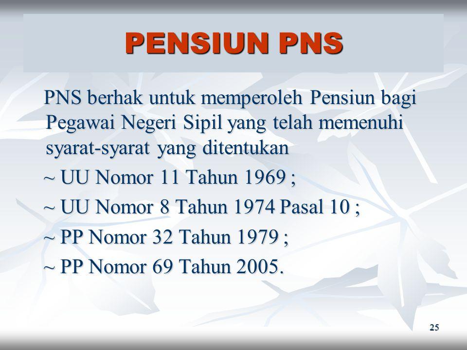 24 UANG DUKA PNS PNS berhak memperoleh Uang Duka bagi keluarga Pegawai Negeri Sipil yang tewas (Pasal 9 ayat 3 UU Nomor 8 Tahun 1974). PNS berhak memp