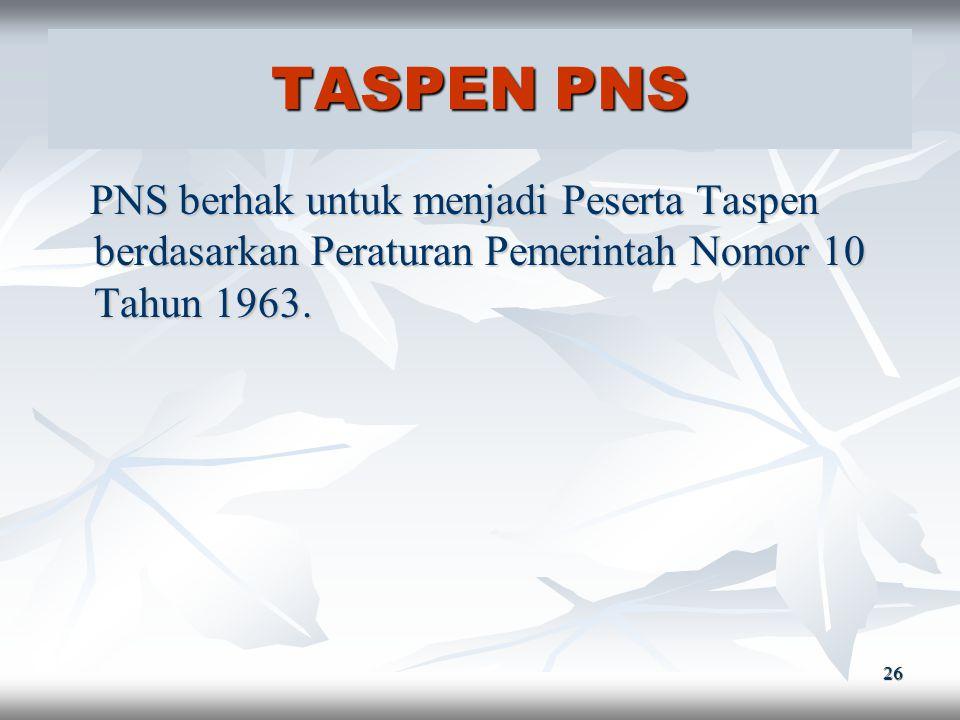 25 PENSIUN PNS PNS berhak untuk memperoleh Pensiun bagi Pegawai Negeri Sipil yang telah memenuhi syarat-syarat yang ditentukan PNS berhak untuk memper