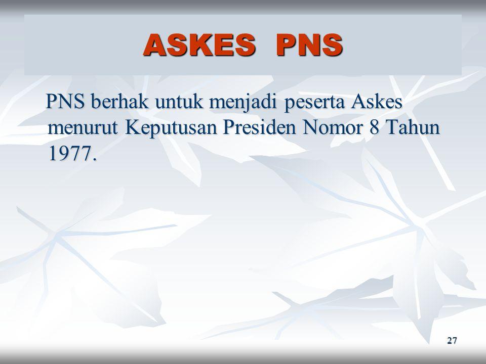 26 TASPEN PNS PNS berhak untuk menjadi Peserta Taspen berdasarkan Peraturan Pemerintah Nomor 10 Tahun 1963. PNS berhak untuk menjadi Peserta Taspen be