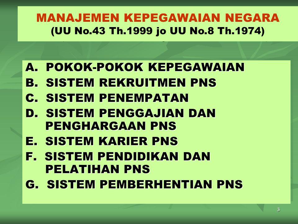 3 MANAJEMEN KEPEGAWAIAN NEGARA ( UU Nomor 43/1999 jo UU Nomor 8/1974 ) A.